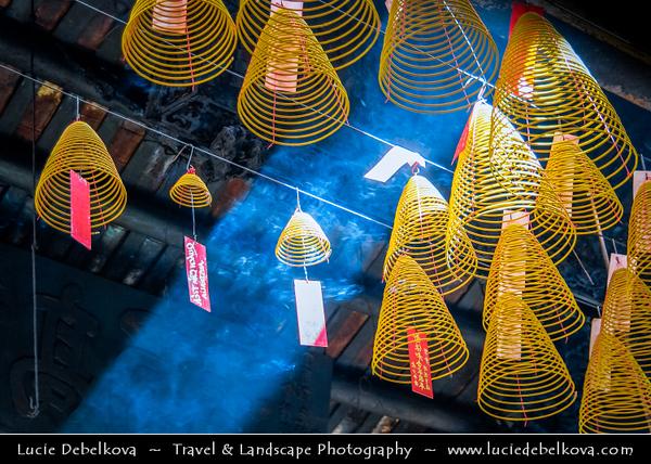 Vietnam - Ho Chi Minh City - Thành phố Hồ Chí Minh - Saigon - Sài Gòn - Worship in Traditional Chinese Buddhist Temple - Sacred House of Worship & Prayer - Burning of Incense Spirals
