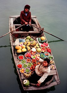 Floating fruit market, Halong Bay, Vietnam 2005
