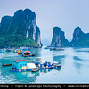 Vietnam - Floating Village and Floating Market in Ha Long Bay - Vịnh Hạ Long - Descending Dragon Bay - UNESCO World Heritage site - located in Quảng Ninh province
