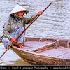 Vietnam - Hoi An - Hội An - Charming Little Riverside Ancient Town - Local Woman in traditional boat on the river