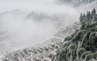 Zhejiang rice terraces in the winter