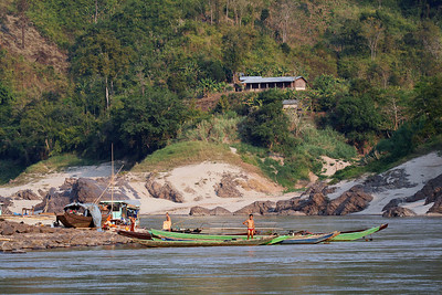Along a very low Mekong River, Laos