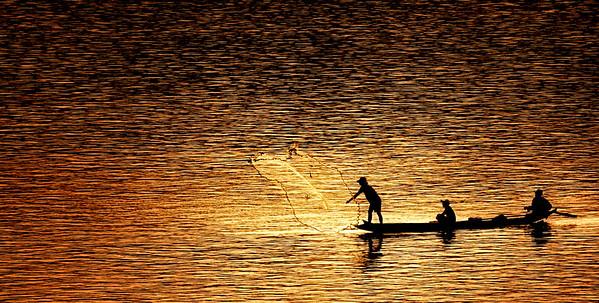 Net fishing on the Mekong, Luang Prubang, Laos