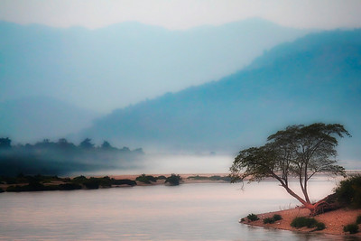 Evening Fog on the Mekong River in Northern Thailand