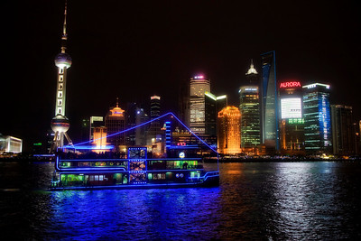Riverboat on Huangpu River and New Shanghai District