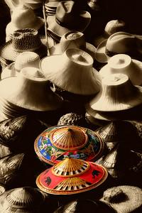 Hats of the Floating Market, Bangkok, Thailand