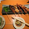 Yakitori includes grilled peppers, clicken, beef and fish.