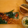 Yakitori with chicken gizzards is a delicacy.  Enjoy with chives, etc.