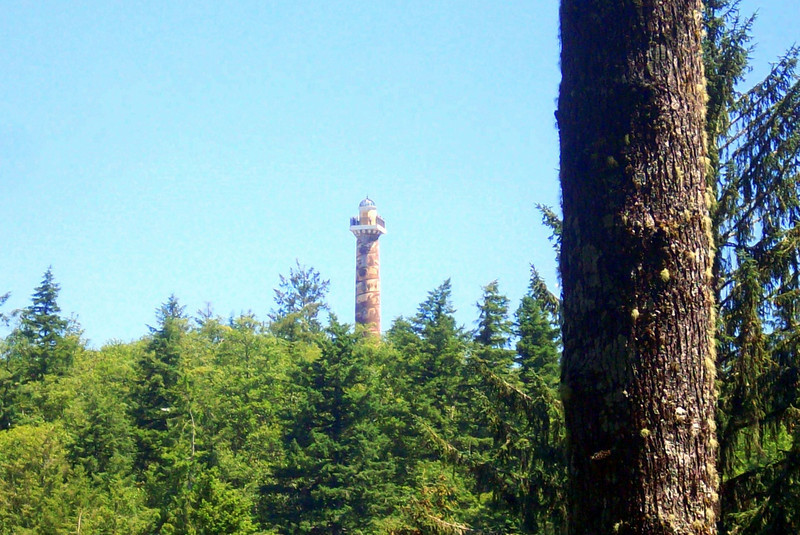 Walking through the trees, one gets an occasional glimpse of the Astoria Column.
