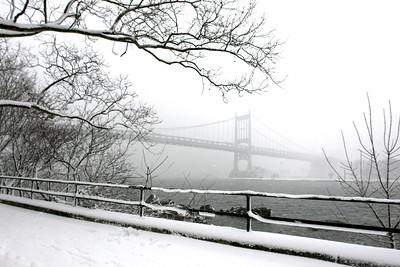 View of the RFK Bridge (Triboro Bridge) during the snow storm.