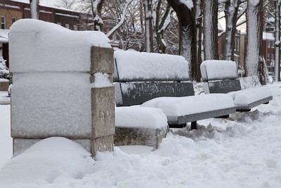 The snowed benches.