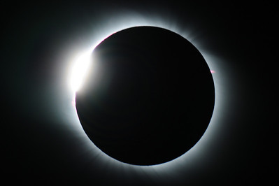Total Solar Eclipse outside of Bulgan, Mongolia. 1 Aug 2008 Diamond Ring and Prominance
