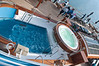 Overhead view of the pool deck as we approached port