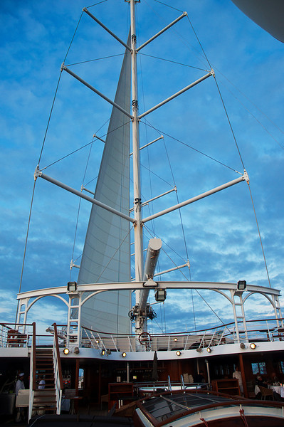 Wind Star can make fifteen knots under sail alone; but this voyage involved some rough seas and contrary winds, so the iron sail was running around the clock although we usually had at least three and often four sails up most of the time.