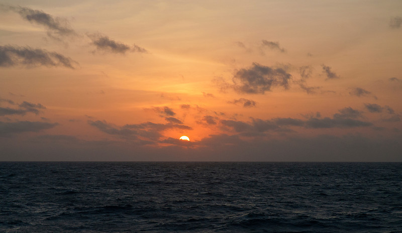 Sunset in slightly rougher seas