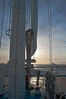 Sunrise on the foresail with light winds out of the north