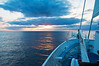 Sunrise, ship now bearing south of east to avoid deep low pressure to the north