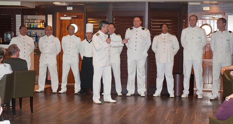 The officers and crew come from all over the globe. The most interesting back story we heard was of the second officer Belinda (third from right) who ran away to sea from the island of St Helena at the age of fifteen.