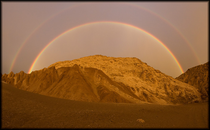 Beautiful rainbow after an extremely rare rainfall in the Atacama, the driest desert on Earth. Allegedly it hadn't rained there in May in over 25 years.