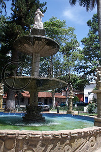 This is the fountain in Parque Central de Concepcion de Ataco. (Central Park of Ataco) This was a very nice park which had a band stand just behind me and as I was there on a weekend, there was live music and a large tent covering food vendors and crafts. Concepcion de Ataco, Ahuachapan, El Salvador.