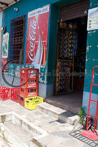 A typical supermarket. Everywhere you go there is a Coca cola sign! Concepcion de Ataco, Ahuachapan, El Salvador.