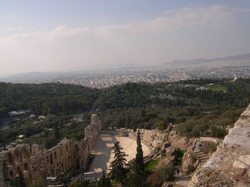 Looking down from the Acropolis to the Theater of Herodes Atticus below.