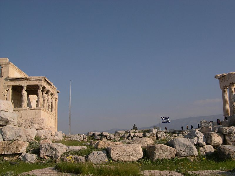Porch of the Caryatids, with the Parthenon on the right.