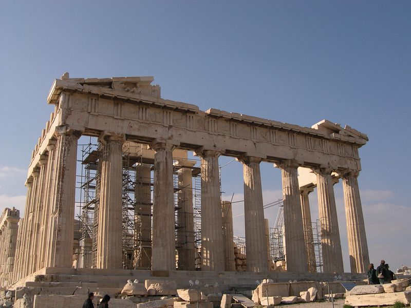 Rear view of the Parthenon, near the Acropolis museum.