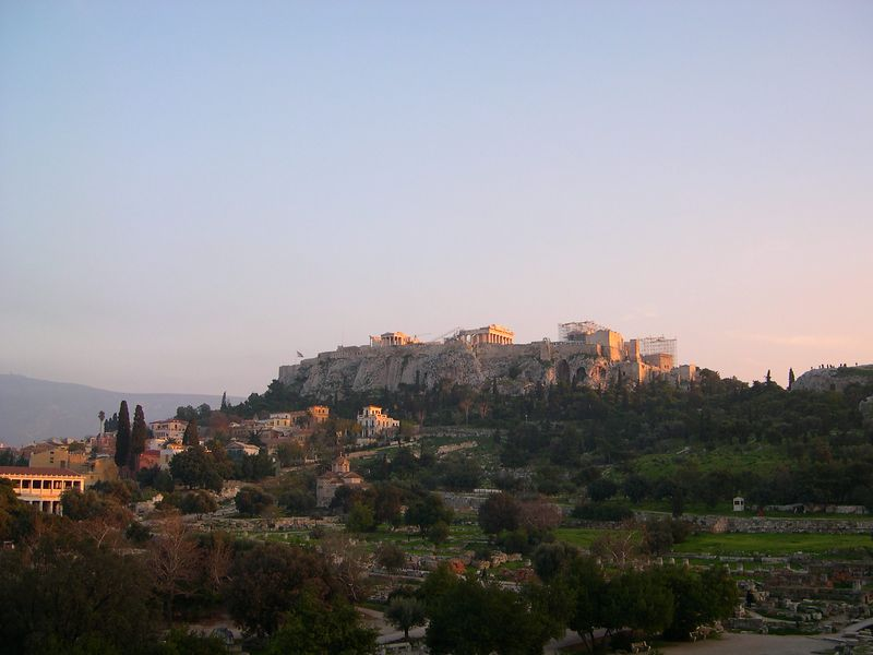 Acropolis with the last glow of the December sunset, with the ancient Agora in the foreground.