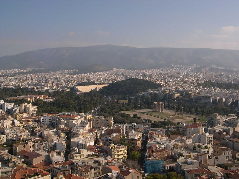 Looking down from the Acropolis to the remains of the Temple of Olympian Zeus, which exceeded the Parthenon in size.