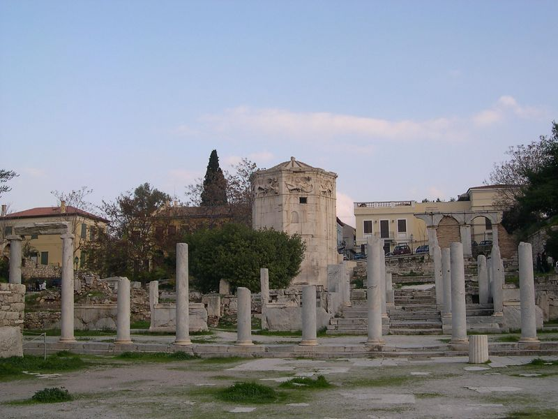 Ruins of the Roman Agora with the Tower of the Winds in the background.