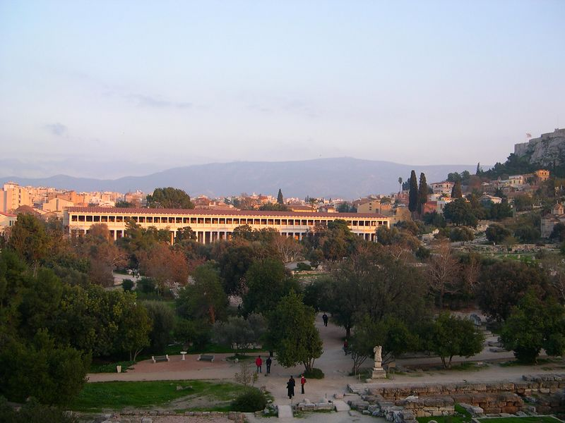 Looking over the ancient Agora, with the Stoa of Attalos in the rear.  I am standing on the steps of the Hephaisteion, which is the best preserved Greek temple in Athens, on the hill above the Agora.  The Acropolis is to the right.
