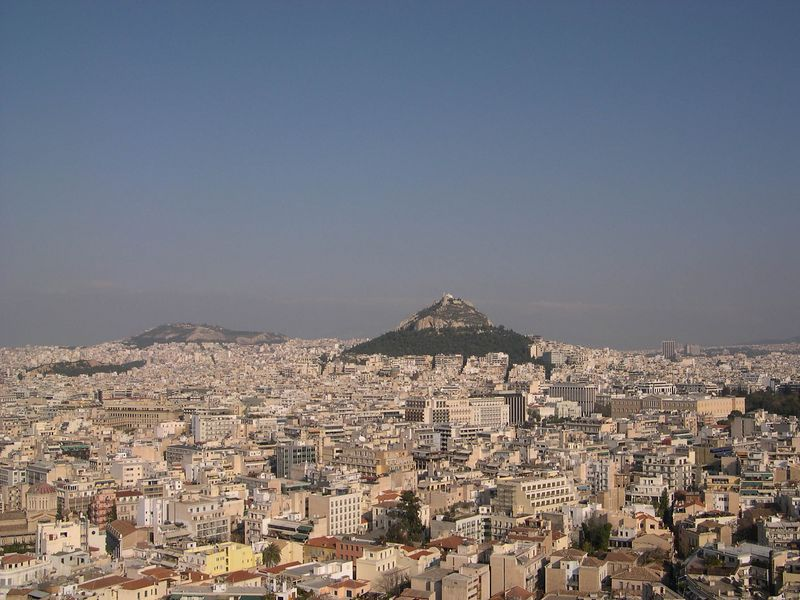 Looking out over modern Athens toward Lykavittos Hill.