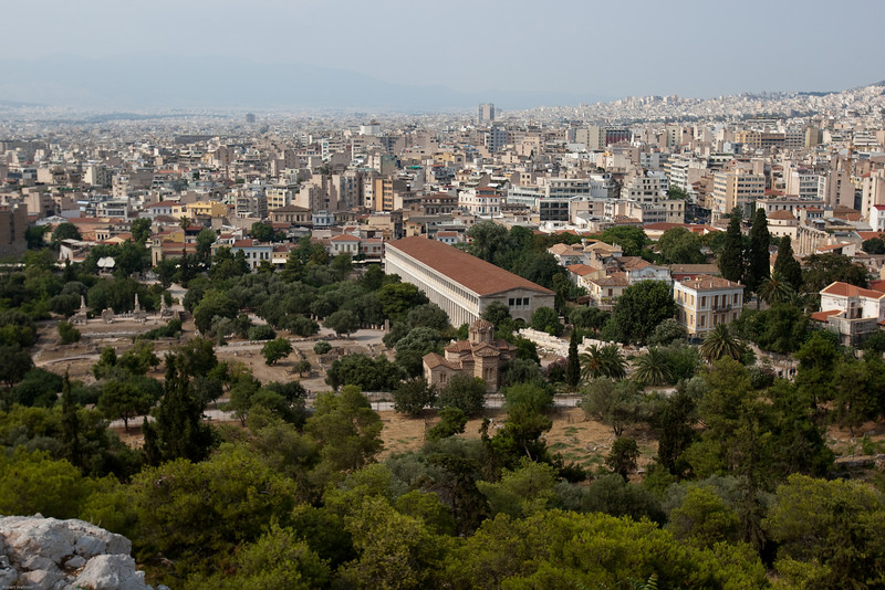 4M9F4914-20 Overlooking the Ancient Agora of Athens and the Stoa of Attalos.