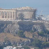 View of the temples and overlook of the city from the Acropolis in Athens, Greece.