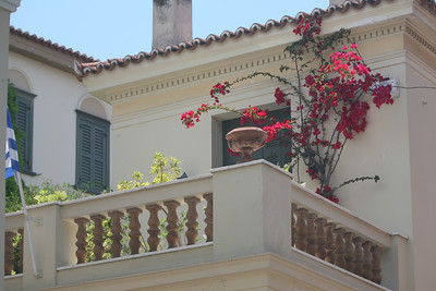 Houses Decorated with Beautiful Flowers, Athens, Greece