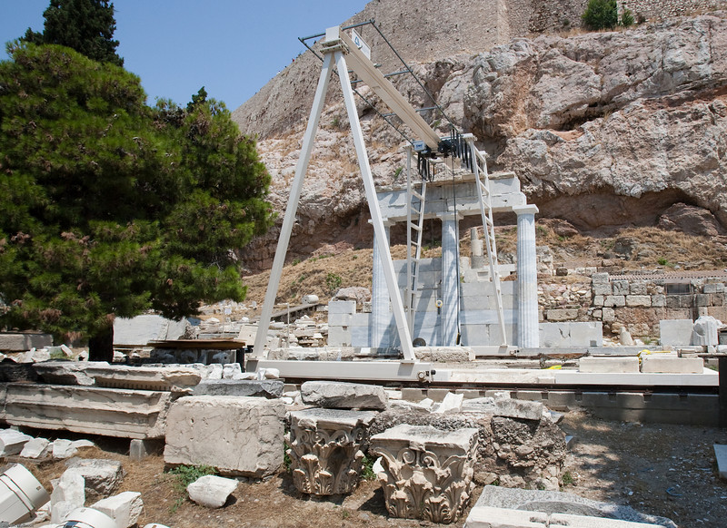 4M9F5154-61 Reconstruction of temples located along the south slope of the Acropolis.