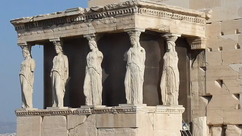 The Erechtheum Temple in the Acropolis in Athens, Greece.