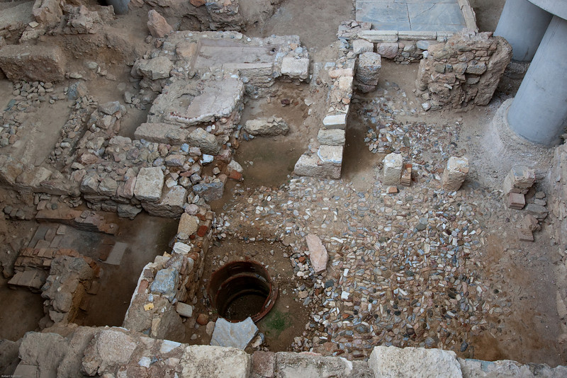 4M9F4926-23 Ancient ruins located under the recently constructed New Acropolis Museum. The ruins include the remains of workshops, private villas, bathhouses and cisterns.