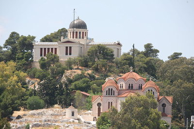 The National Observatory and the Church of Agia Marina, Athens, Greece
