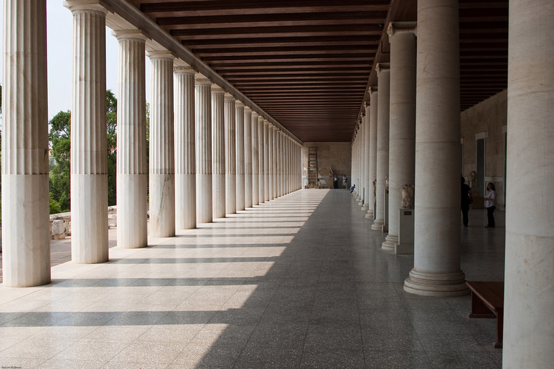4M9F4857-5 The Stoa of Attalos with a view of two different styles of columns used to support the two-story structure.