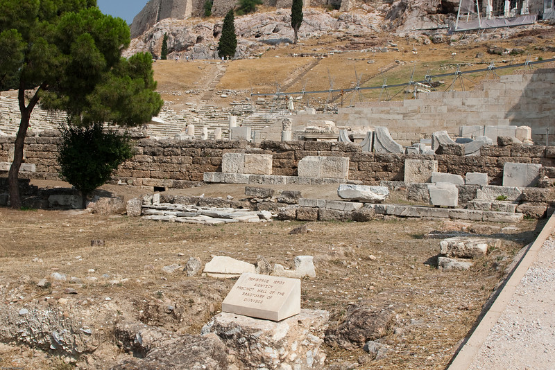 4M9F4940-27  The sanctuary of Dionysos located along the south slope of the Acropolis.  The area  played a significant role in the artistic, spiritual and religious activity of ancient Athens.