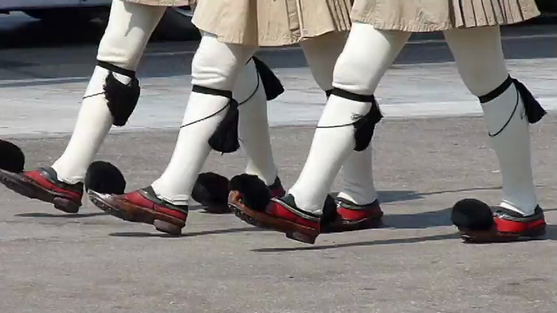 The Evzones Changing of the Guards in front of the  tomb of the unknown in Syntagma square in Athens, Greece.
