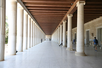 The Stoa of Attalos, Athens, Greece  The Stoa of Attalos was a stoa (covered walkway or portico) in the Agora of Athens, Greece. It was built by and named after King Attalos II of Pergamon, who ruled between 159 BC and 138 BC.  The stoa was in frequent use until it was destroyed by the Heruli in 267. The ruins became part of a fortification wall, which made it easily seen in modern times. In the 1950s, the Stoa of Attalos was fully reconstructed and made into the Ancient Agora Museum, by the American School of Classical Studies at Athens, with funding donated by the Rockefeller family.