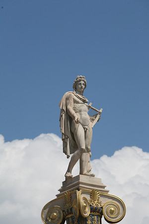 Apollo the Guitar Player, Sitting 23 meters high on Pillar, Academy of Athens, Greece
