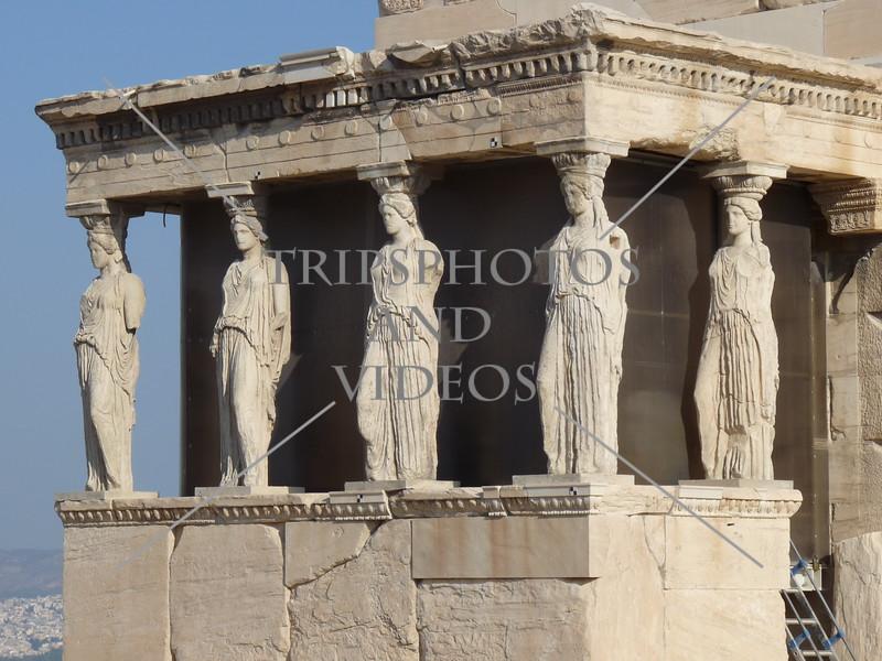 Erechtheum Temple on the Acropolis of Athens, Greece.