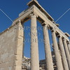 Temple columns in the Acropolis in Athens, Greece.