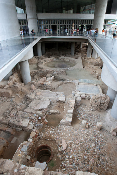 4M9F4924-22 Ancient ruins located under the recently constructed New Acropolis Museum.