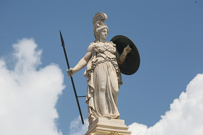 Athina the Defender, Sitting 23 meters high on Pillar, Academy of Athens, Greece