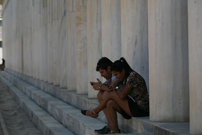 Resting in Front of The Stoa of Attalos  The Stoa of Attalos was a stoa (covered walkway or portico) in the Agora of Athens, Greece. It was built by and named after King Attalos II of Pergamon, who ruled between 159 BC and 138 BC.  The stoa was in frequent use until it was destroyed by the Heruli in 267. The ruins became part of a fortification wall, which made it easily seen in modern times. In the 1950s, the Stoa of Attalos was fully reconstructed and made into the Ancient Agora Museum, by the American School of Classical Studies at Athens, with funding donated by the Rockefeller family.